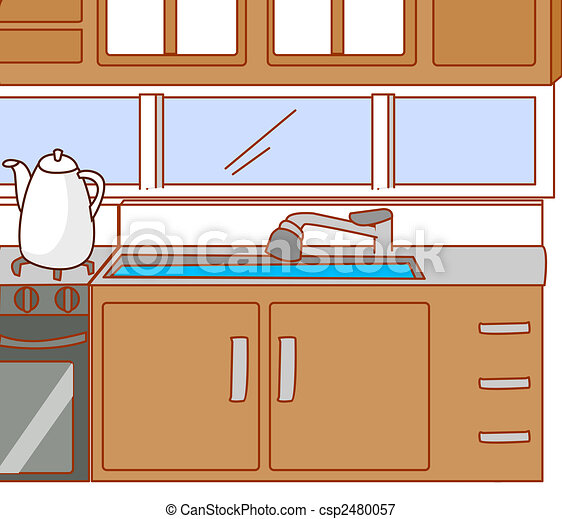 Stock Illustrations Of Kitchen A Nice Drawing Of A Tidy Kitchen Csp2480057 Search Eps