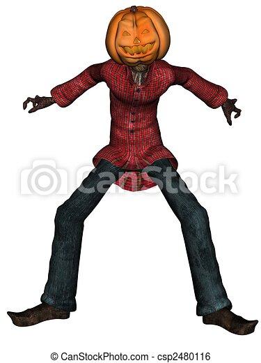 Halloween man with pumpkin head - csp2480116
