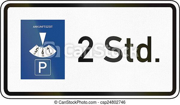 photo de deux heures stationnement disque allemand trafic csp24802746 recherchez. Black Bedroom Furniture Sets. Home Design Ideas