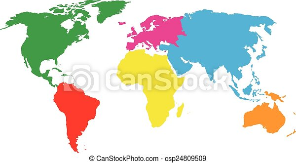 Vector Clipart of colourful continents world map csp24809509 ...