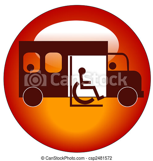 button or icon of paratransit bus picking up passenger - csp2481572