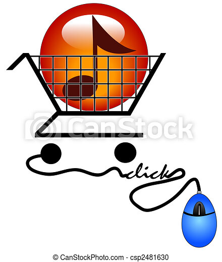 concept of shopping on the internet for music - downloading music - csp2481630