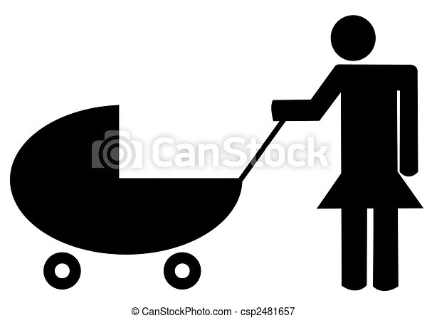 mother pushing baby buggy or stroller - illustration - csp2481657