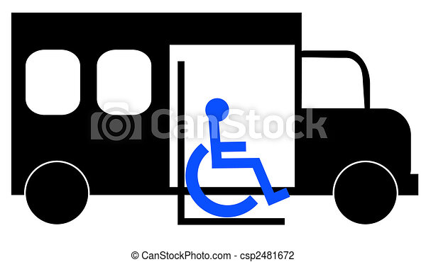illustration of paratransit bus picking up wheelchair passenger - csp2481672