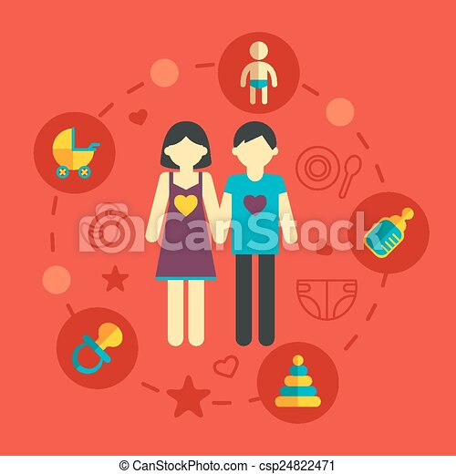 Vectors illustration of set of family planning and Family planning com