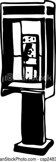 Clip Art Vector of phone booth drawing vector illustration image ...