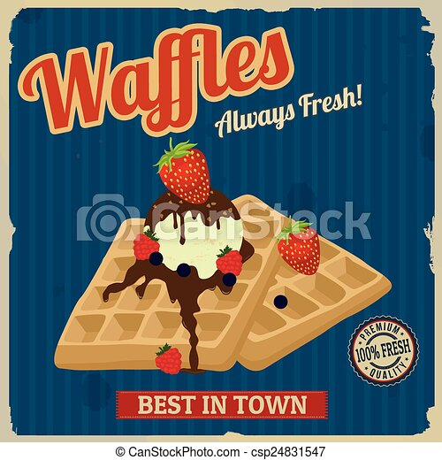 Waffles with chocolate, ice cream and berries retro poster - csp24831547