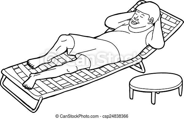 Deck Chairs Drawing Outline of Man on Deck Chair