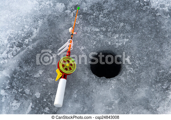 Stock photography of the rod for winter fishing lies near for Where can i buy a fishing license near me