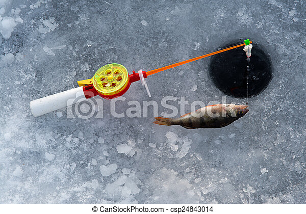 Stock photography of the rod for winter fishing lies near for Where to get a fishing license near me