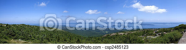 Panoramic view from Cadillac Mountain and Bar Harbor,Park Acadia,Main,United States - csp2485123