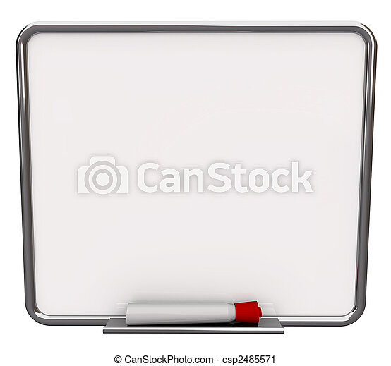 Blank White Dry Erase Board with Red Marker - csp2485571