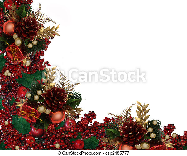 Christmas Holly Berries Garland Border - csp2485777