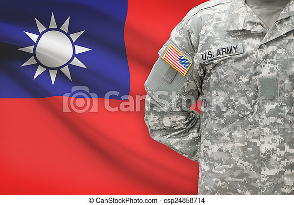 American soldier with flag on background - Republic of China - Taiwan