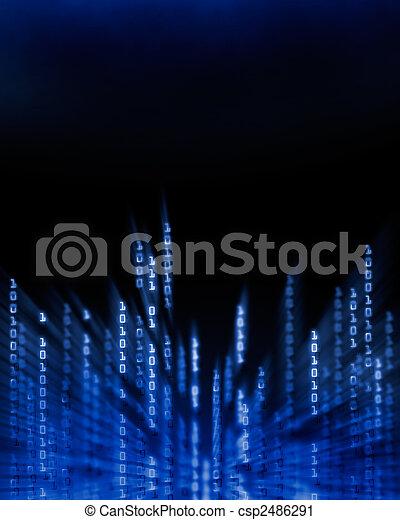 Binary code data flowing on display - csp2486291