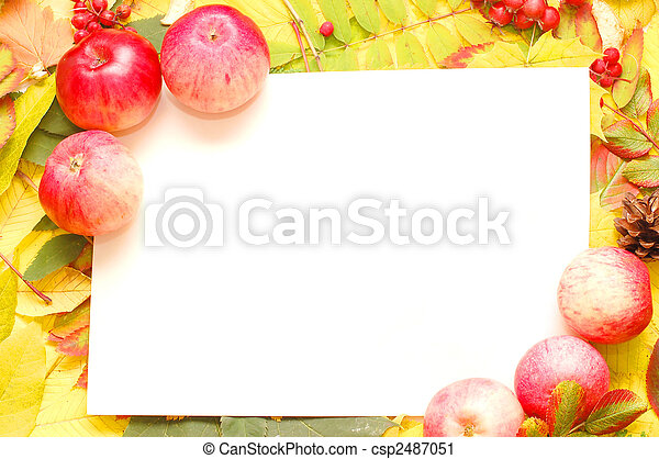 Colorful frame of fallen autumn leaves - csp2487051