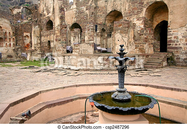 Fountain In Golkonda Fort - csp2487296