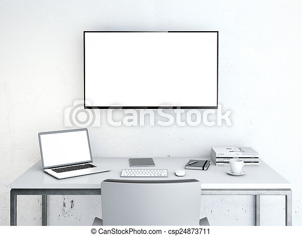 Wotkplace with large screen