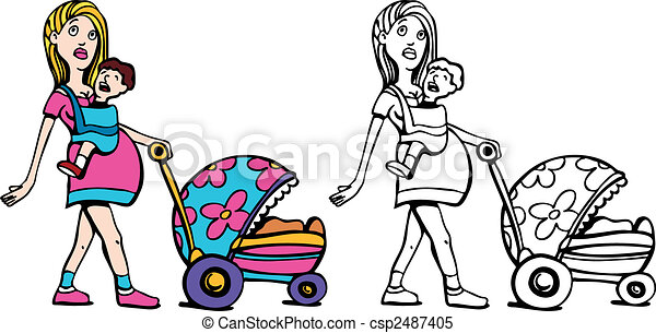 Young Pregnant Woman with Many Children art - csp2487405