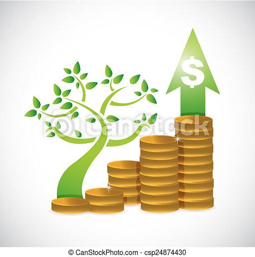 Arbre, monnaie, dollar, graphique, illustration, conception, sur
