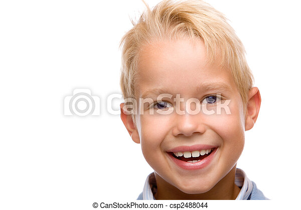 closeup of child smiling happy into camera on white background - csp2488044
