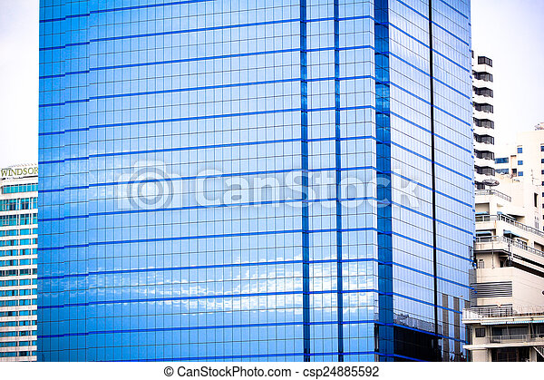 windows of office buildings, cool business background in Bangkok