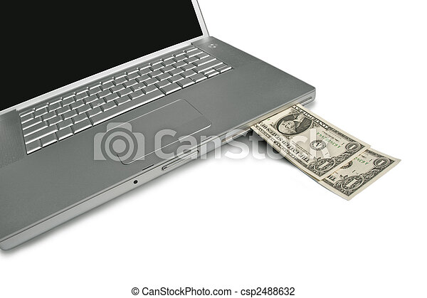 Cash coming out of a laptop. Make money with your computer online or the web. - csp2488632