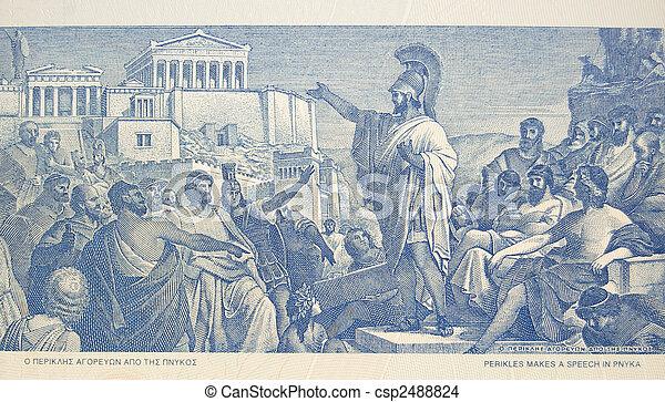 Perikles makes speech to crowd