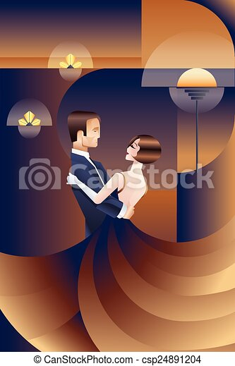 vector clipart of dancing couple art deco geometric style
