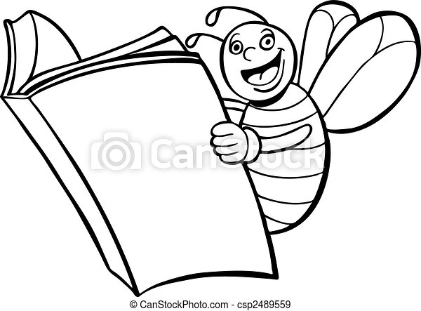 Books Line Drawing Bee Reading Book Line Art