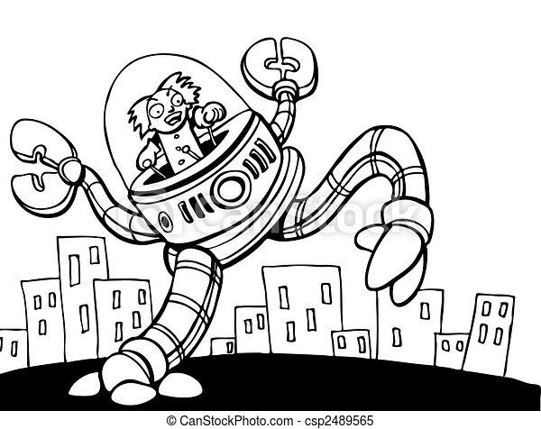 Mad Scientist Attacking City line art - csp2489565