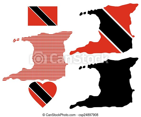 Map of the Republic of Trinidad and Tobago - csp24897908