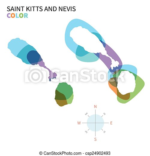 Abstract vector color map of Saint Kitts and Nevis - csp24902493