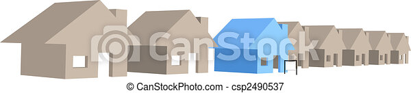 House for sale on street row of 3D houses - csp2490537