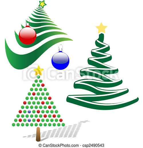 Set of 3 Merry Christmas Tree Design Elements - csp2490543