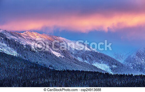 Amazing winter landscape, beautiful high Alpine mountains covered with pine forest and white snow, wintertime beauty of nature, beautiful sunset light