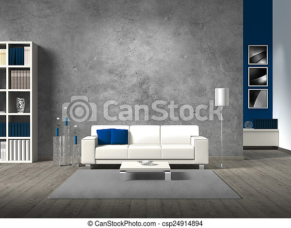 modern living room with concrete wall and copy space for your own images - csp24914894