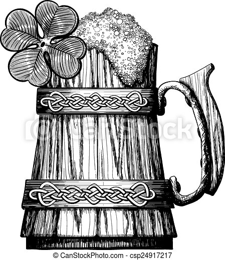 Vector Clip Art of Wooden mug of beer with foam Irish ...