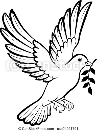 Cartoon Dove birds logo for peace c - csp24921791