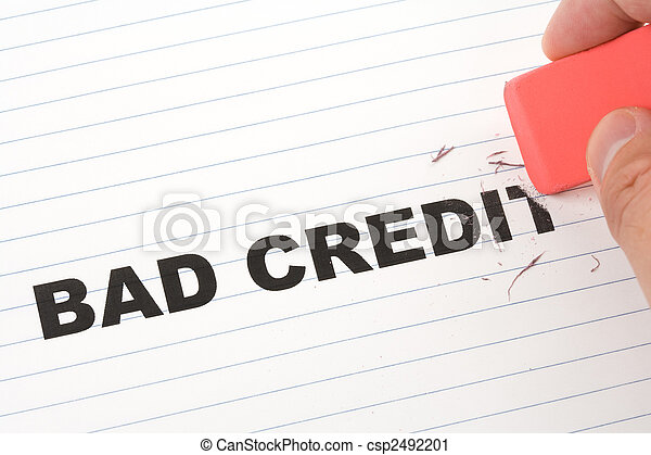 eraser and word bad credit - csp2492201