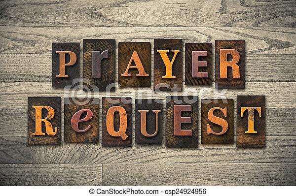 Prayer Request Wooden Letterpress Concept - csp24924956