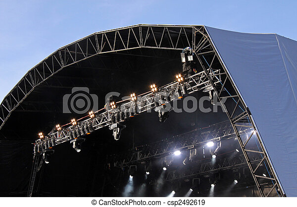 Music festival stage with spot lights - csp2492619