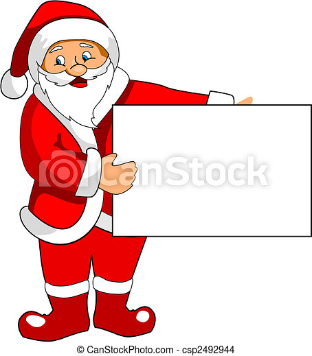 Santa Claus with blank paper - csp2492944
