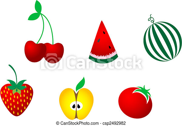 Icons of fresh fruits - csp2492982
