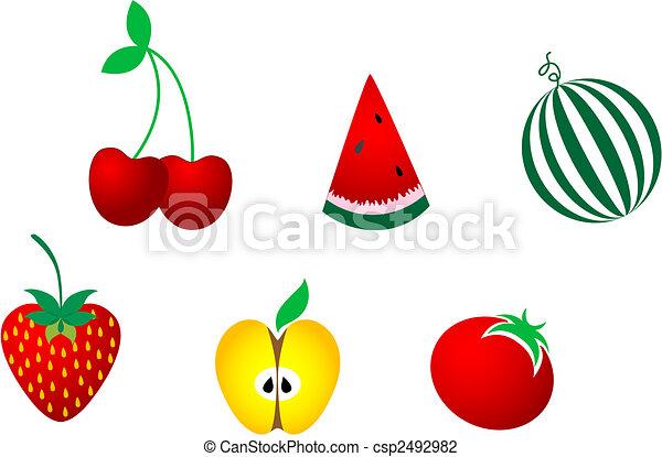 Icons of fresh fruits - csp2492982