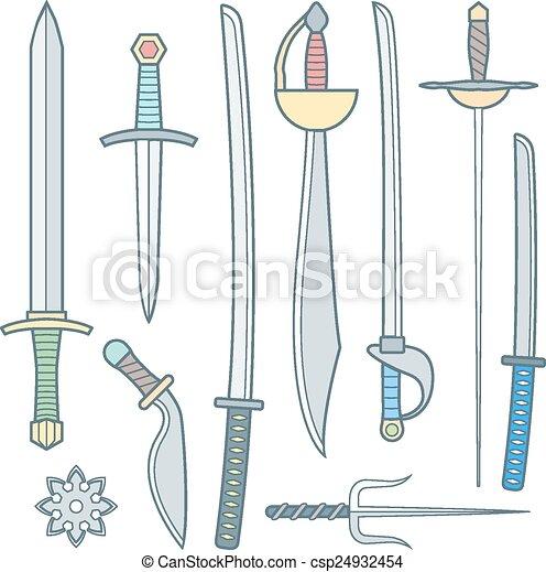 Medieval Falchion Sword Clipart Vector of vect...
