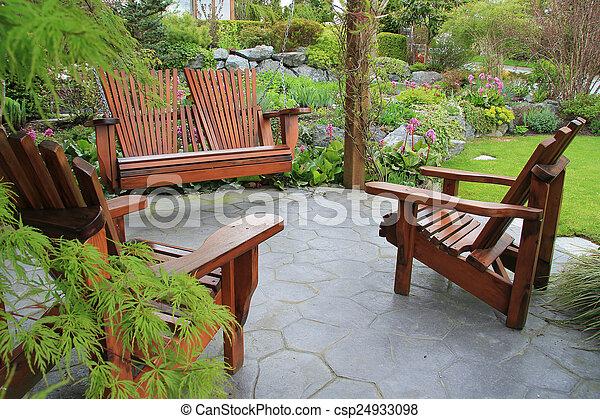 Patio furniture in the garden.