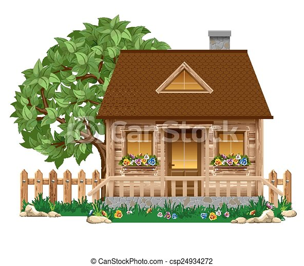 Vector Clip Art of Cute small tree house - Vector illustration of ...