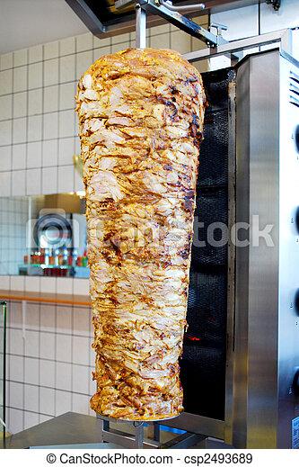 turkish doner kebab meat pit in a fast food shop - csp2493689
