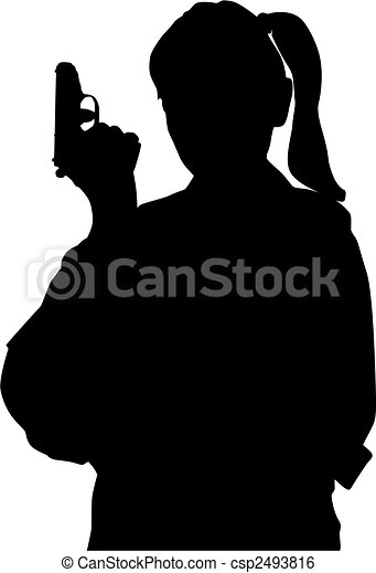 Woman with gun - csp2493816